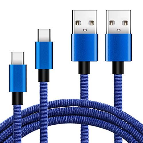 KEXIN USB C Kabel auf USB 2.0 [ 6FT + 10FT ] Schnelles Aufladen und Synchronisation USB C Ladekabel Braid USB Typ C Ladekabel für Typ C Geräte Samsung Galaxy, HTC, LG, Sony und mehr Blau (6ft Usb Geflochten)