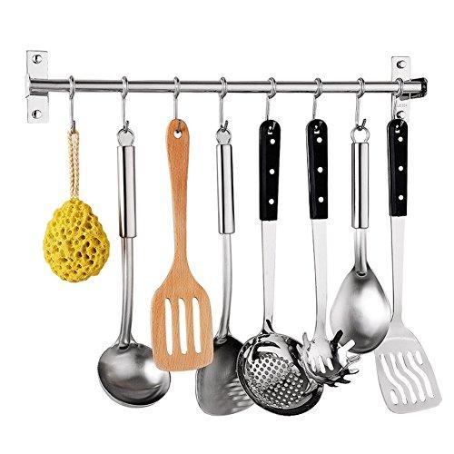 Scaffale da cucina gancio, acciaio inox multiuso utensili supporto organizer da parete pan pot rack, portautensili da rack con 6ganci (40cm, ganci.) 40 cm as show