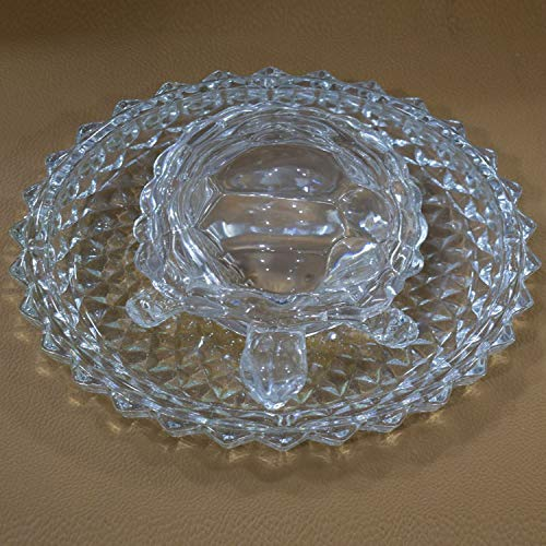 SK Crafts Vastu Feng Shui Crystal Turtle Tortoise With Plate for Good Luck (5.2-Inch), Feng Shui Tortoise Turtle Best Gift for Career & Luck