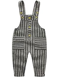 JiAmy Pantalones de Peto Bebé Pantalones de Punto Niños Niñas Overalls Pantalones Largo Ajustable (9 Meses - 4 Años)