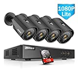 ANNKE 8 Channels 1080P Lite H.264+ HD-TVI DVR w/ 4x 1.30 Megapixels 960P Weatherproof Metal Bullet Camera+1TB Professional Surveillance HDD Security Camera System, Convenient Email Alert with Images
