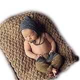 maglieria a mano Neonato Fotografia Props Prima infanzia Abbigliamento uncinetto Cappelli Pantaloni