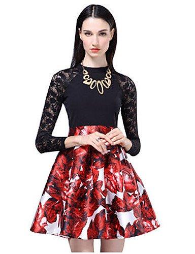 PU&PU Robe Aux femmes Gaine Simple,Imprimé Col Arrondi Au dessus du genou Polyester BLACK-M