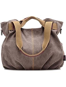 Nlyefa Damen Canvas klassisch Retro groß Kapazität multifunktionale Handtasche Schultertasche Umhängetasche für...