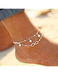 Simsly Fashion Beach Anklet Anklet Bracelet with Imitation Pearl for Women and Girls (Silver) JL – 136