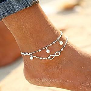 Simsly modische Strand-Fußkette mit Kunstperle, verstellbar, für Frauen und Mädchen, Silber, JL-136
