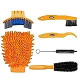 Tagvo 6pcs Set di attrezzi per la pulizia della bicicletta, kit per pulizia della bicicletta per bicicletta / pneumatico / ruota dentata
