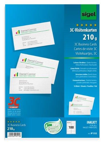 Sigel IP532 Visitenkarten mit Leinen-Struktur, für InkJet, 100 Stück (10 Blatt), glatter Schnitt, 85x55 mm