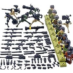 MAJOZ 8 Piezas Militar Mini Figuras Personalizadas y Armas - Equipo SWAT Policía Figuras Bloque de construcción para Niños y Adultos