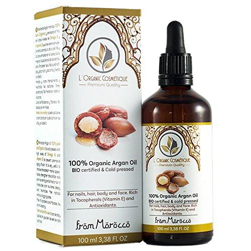 Aceite de Argán 100% puro orgánico (100 ml) , prensado en frio y certificado BIO para cabello, piel y uñas. Hidratante y Nutriente. Puro Vegano.