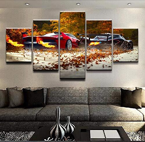 mmcdzhp 5 Stücke Gerahmte Moderne Hd Leinwand Malerei Hause Dekorative Supercar Fahrzeug Hinter Bilder Gedruckt Poster Für Wohnzimmer Wandkunst -