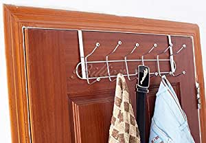 HOME CUBE 1-Piece Multifunctional 6 Stainless Steel Door Hook Organiser (Silver, HC-0854)