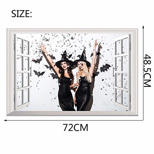 (Wandtattoos Wandbilder Kreative 3D 3D Gefälschte Fenster Wandaufkleber Halloween Karneval Party Wandaufkleber Papier 48 5 * 68 cm)