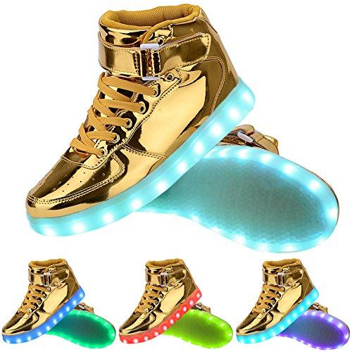 Odema Unisexe Scarpe Da Ginnastica Sneaker Led Brillanti 7 Colori Cambiati Oro