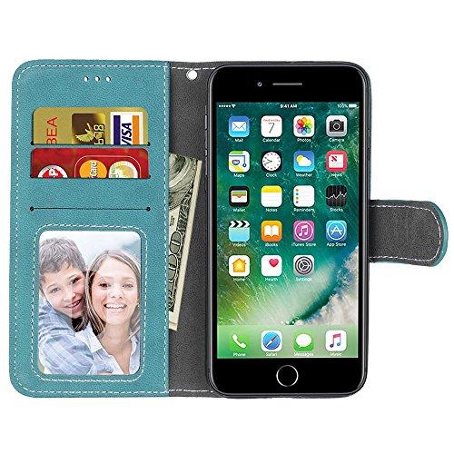 Coque pour iPhone 5 5S 5G / iPhone SE, Ecoway Givré Coque/ Housse/ Case/ Couverture/ Étui de Protection/ Cover/ PU Leather Coque Flip Magnétique Portefeuille Etui Housse de Protection Coque Étui Case  bleu