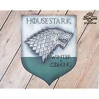 Haus Stark Game of Thrones Banner Holzschild. Der Winter kommt, erinnert sich North, und in Winterfell muss immer ein Stark sein.
