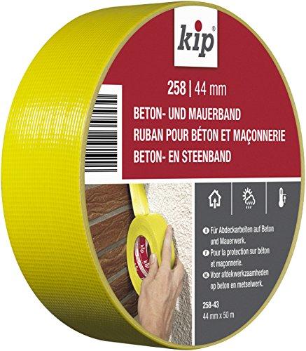 Kip 258-43 Beton-und Mauerband für grobe und raue Untergründe, 44 mm x 50 m, Gelb