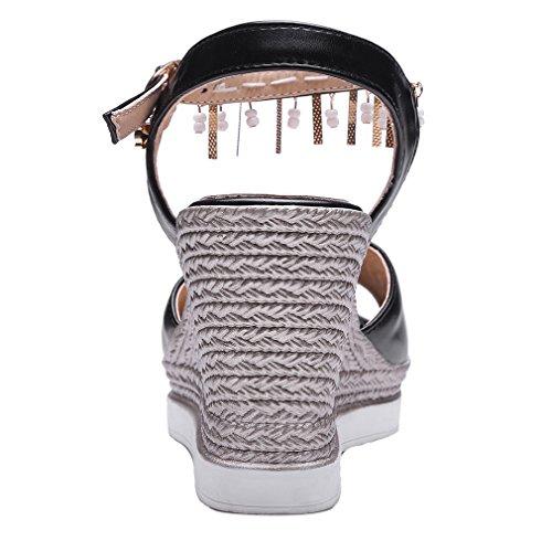 Compensata Nero Cinturino Toe Caviglia Sandali Metallo Con Talloni Strass Alla Peep Donne Con Elegante Comodo Uh E 6wzATxqHR