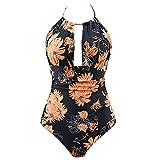 IMJONO Badeanzug schwimmte Trunks Damen Einteiler Badebekleidung Rückenfreie Monocini Badeanzüge(Large,Orange)