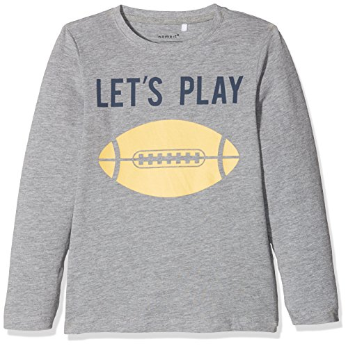 NAME IT Jungen Sweatshirt Nmmdaball LS Top, Grau (Grey Melange), 128 (Herstellergröße: 122/128)