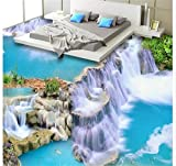 Chlwx 300cmX200cm (118.1inX78.127in) 3D-Pvc Bodenbeläge Tapeten Tapeten Hd Wasserfall Wasser Foto Bodenbeläge Gemälde 3D Wandbilder Tapeten Für Wände 3D