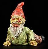 Kriechender Zombie Gartenzwerg in grünem Hemd - Deko Figur