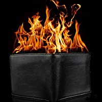 MAJGLGE Magic Trick Big Flame Fire Wallet Stage Street Show Faux Leather Bifold Purse - Black