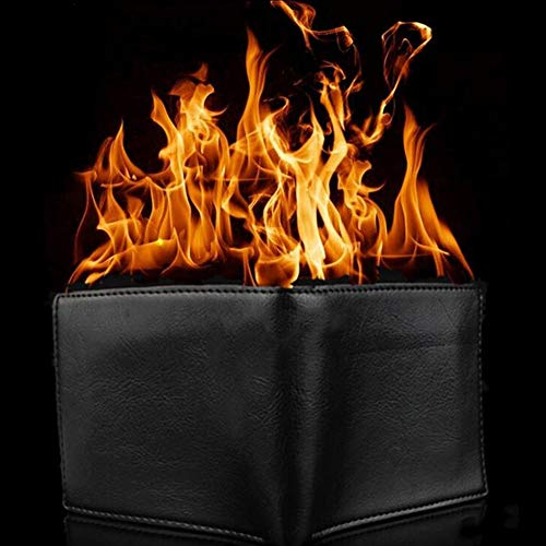 Black Magic Wallet (MAJGLGE Magic Trick Big Flame Fire Wallet Stage Street Show Faux Leather Bifold Purse - Black)