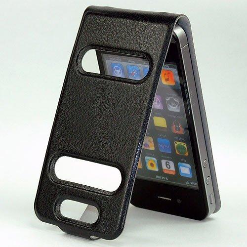 ABZ-S Ultra dünne Hülle für iPhone 4S / 4 im Lederoptik - schwarz schwarz
