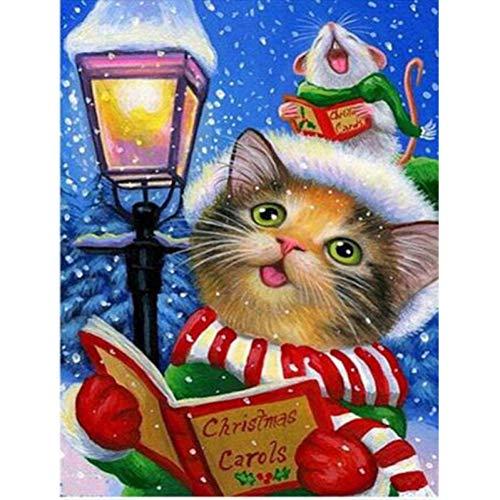 ERQINGZH Diamantzeichnung 5D Diamant Stickerei Diamant Stickerei Weihnachten Katze Diamant Mosaik Kreuzstich Kits Weihnachtsschmuck Für Zu Hause 15X20 cm Platz -