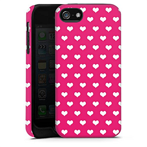Apple iPhone X Silikon Hülle Case Schutzhülle Polka Herz Pink Weiß Tough Case matt