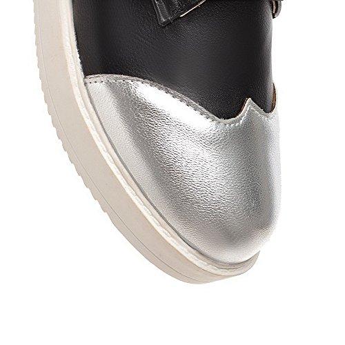 VogueZone009 Femme Tire à Talon Bas Pu Cuir Couleurs Mélangées Rond Chaussures Légeres Noir