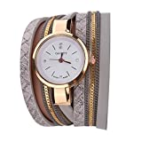 Demiawaking Donna artificiale cristallo multistrato braccialetto in pelle PU Watch femminile orologio da polso