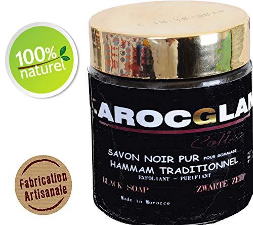 SAVON NOIR MAROCAIN, 100% NATUREL, GOMMAGE AU SAVON NOIR, HAMMAM ET SPA, TRADITIONNEL 100% PUR à l'huile d'olive - de la marque MAROC GLAM 200g (°.°) OFFRE DECOUVERTE 10€99 au lieu de 14€99