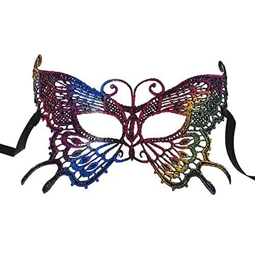 Keyi le Leicht und einfach zu Tragen Halloween Sexy Schmetterling vergoldete Spitze Maske Party Spaß Augenbinde Maske (bunt)