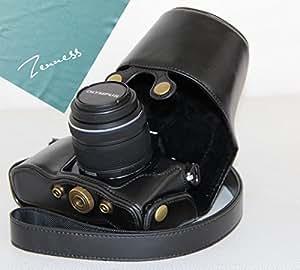 PDXD-share Étui en PU-cuir, Housse de caméra pour Olympus OM-D E-M10 avec objectif 14-42mm (Noir)