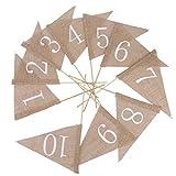 OULII 10pcs Wedding mesa de los números 1–10banderín banderines de arpillera con barra