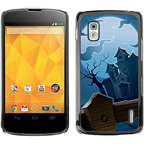 LG Nexus 4 E960 - Aluminum Metal & plastica dura Phone caso - nero - Halloween Haunted House