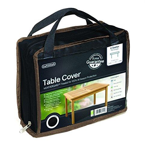 Gardman 35667 telo di copertura per tavolo rettangolare da 6 persone, nero