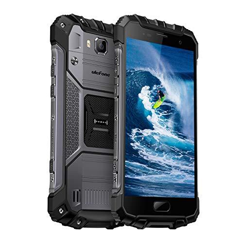 """Ulefone Armor 2 Smartphone Libre 4G IP68, Móvil Libre, 5.0"""" FHD 1920 * 1080 Pixels, Carga Rápida 9V/2A, Android 7.0, 64Go ROM+6Go RAM, Octa-Core, Cámara de 16MP/13MP, Batería 4700mAh, Dual SIM (Gris)"""