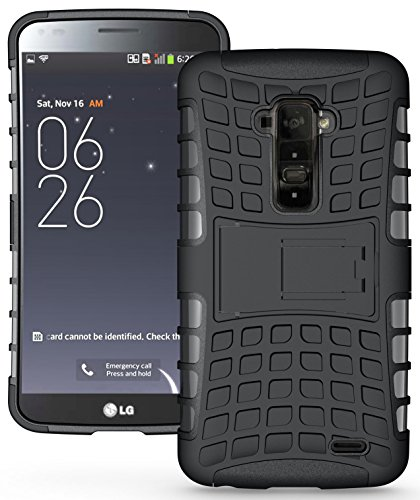 Heartly Flip Kick Stand Hard Dual Armor Hybrid Bumper Back Case Cover For LG G Flex D958 - Black  available at amazon for Rs.399