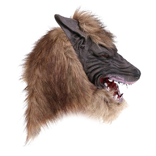 MagiDeal Latex Wolfmaske Tiermaske Babymaske Gorilla Alpaka Masken für Halloween Maske latex Tiermaske Kostüm - Wolf (Maske Gorilla Kopf)