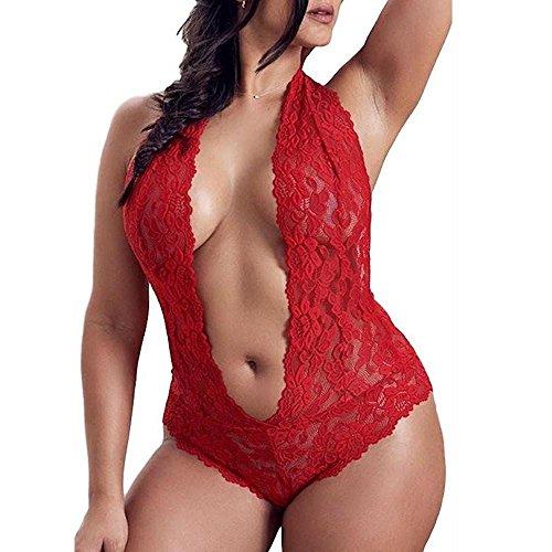 KanLin1986 Mujer tallas grandes Sexy Lencería encaje Mono Picardias erotica Ropa interior atractiva...