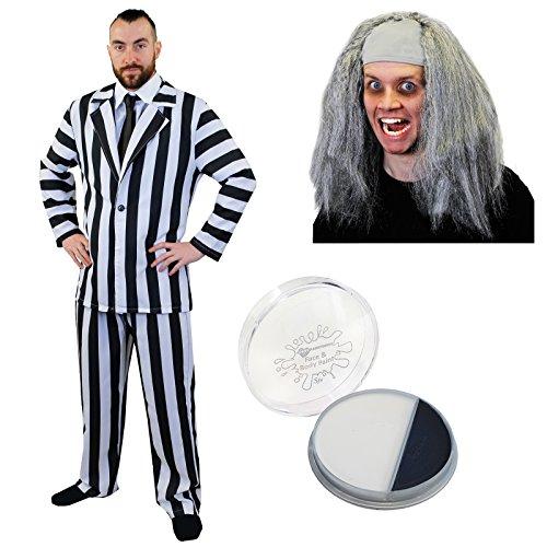 Crazy Man Ghost Halloween Kostüm schwarz & weiß gestreift Anzug & Hemd vorne + Perücke + Facepaint XL Extra Groß bis zu 121,9cm Brust