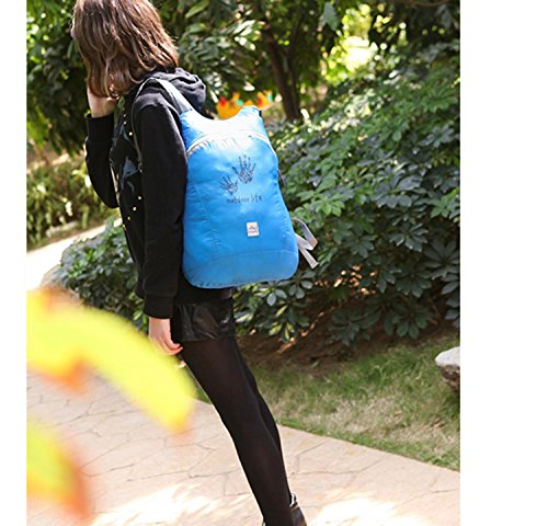 HWJF La borsa esterna del sacchetto della pelle di può essere piegata zaino portatile di tendenza impermeabile portatile dello spalla , dark blue Green