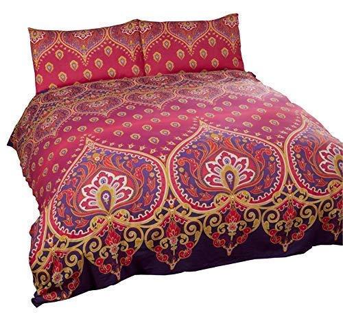Indisch Henna Stil Rot Violett Baumwollmischung Breites Doppelbett (Uni Malvenfarben Lila Passendes Leintuch - 180 X 200CM + 25) 4 Teile Bettwäsche Set