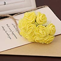 144pcs boda flores artificiales Mini espuma ramo de pétalos de rosa decoración de boda Amesii amarillo