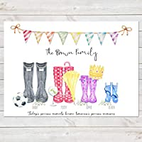 Wellington Boot Family Print, Personalised Wellies Rain Boot Welly Art Gift