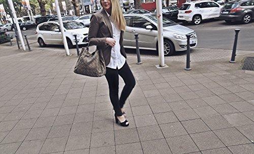 Hochwertige Damen Handtasche - Umhängetasche mit abnehmbarem Schulterriemen - Hobo Bag in Flechtoptik - 40 x 29 x 13,5 cm - Schwarze Henkeltasche von MIYA BLOOM Natur