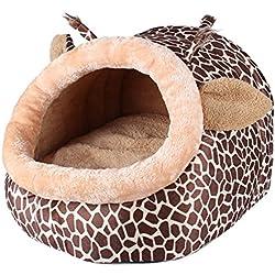 La Cabina Panier pour Chien Sac de Couchage Chaud Lit Chat Maison pour Chihuahua Forme de Girafe